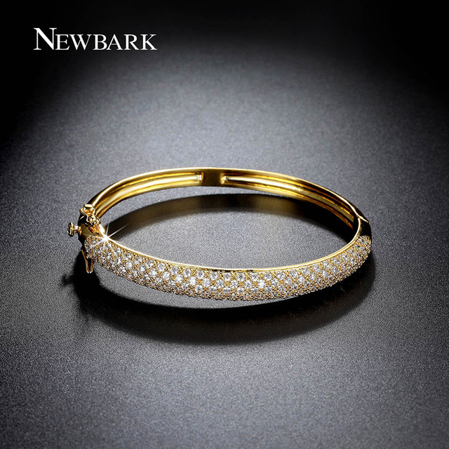 NEWBARK Classic Bangle Round Bracelets For Women Gold Plated Bling Bangles CZ Simulated Diamond Sparkling Party Jewelry