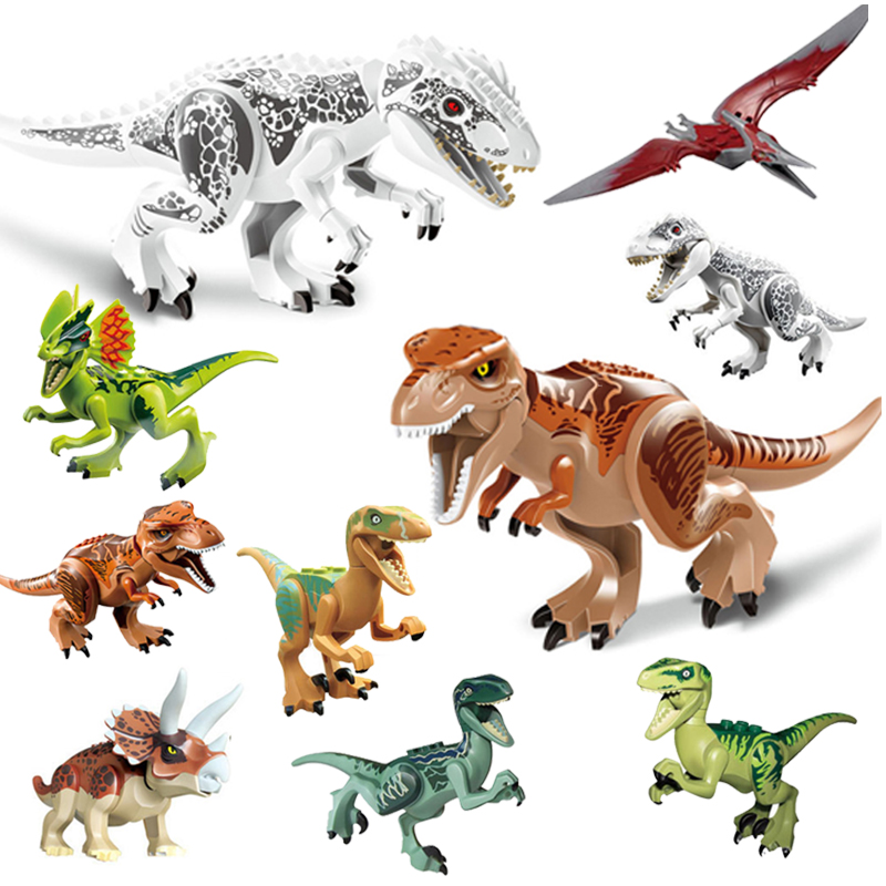 Jurassic World Park Tyrannosaurus Indominus Rex Indoraptor Building Blocks Dinosaur Figures Bricks Toys Compatible with Lego single dinosaurs tyrannosaurus rex triceratop pterosauria velocirapto movie mini building blocks toys legoings jurassic world