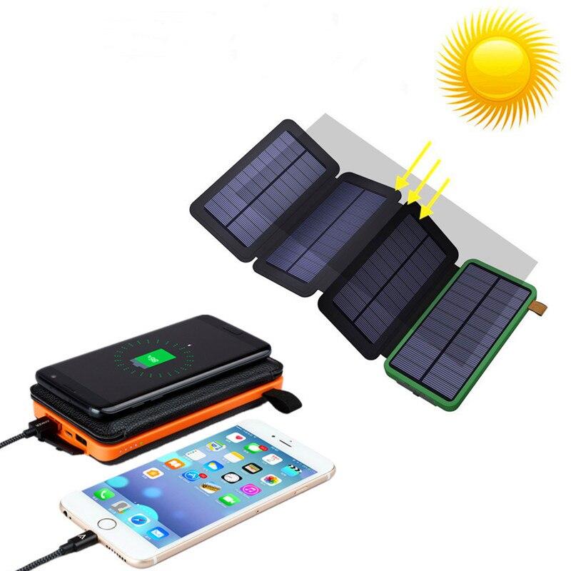 Folding 8W Solar Charger Waterproof battery 20000mAh External portable power solar wireless power bank for Digital products стоимость