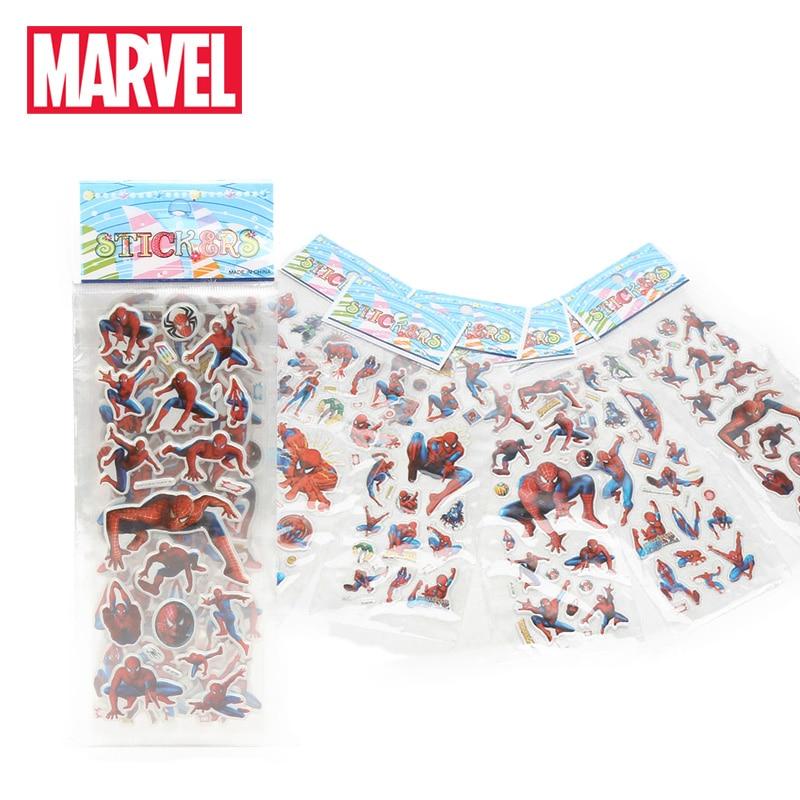 6pcs/set Marvel Toys Avengers Endgame Stickers 3D Hulk Iron Man Black Widow Raytheon Captain America Sticker Pack For Car Laptop