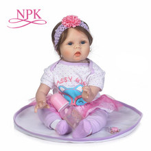 NPK reborn baby with high quailty fiber hair and soft real touch cloth body very cute clothes doll toys for children(China)
