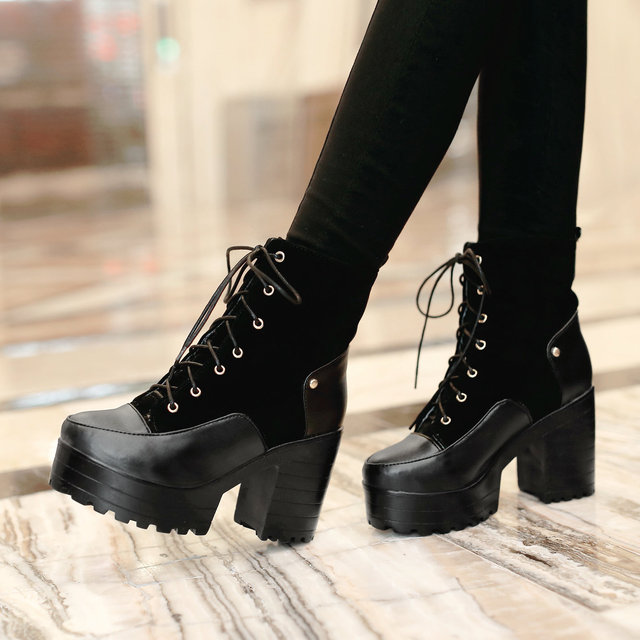 d7cf06899084 TUNATAKA Female Pu Martin Boots Thick High Heel Winter