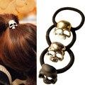 3pcs /lot Lady Punk Rock Retro Metallic 3D Skull Hair Band Rope Tie Wrap Ponytail Holder