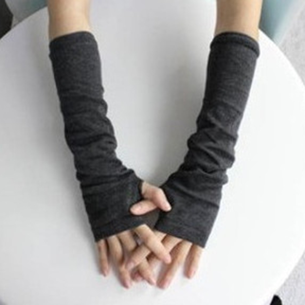 Fingerless gloves cotton - 1 Pair Fashion Female Models Korean Girls Long Gloves Knitted Cotton Fingerless Gloves Arm Sleeve Wristbands Arm Warmers In Gloves Mittens From Women S
