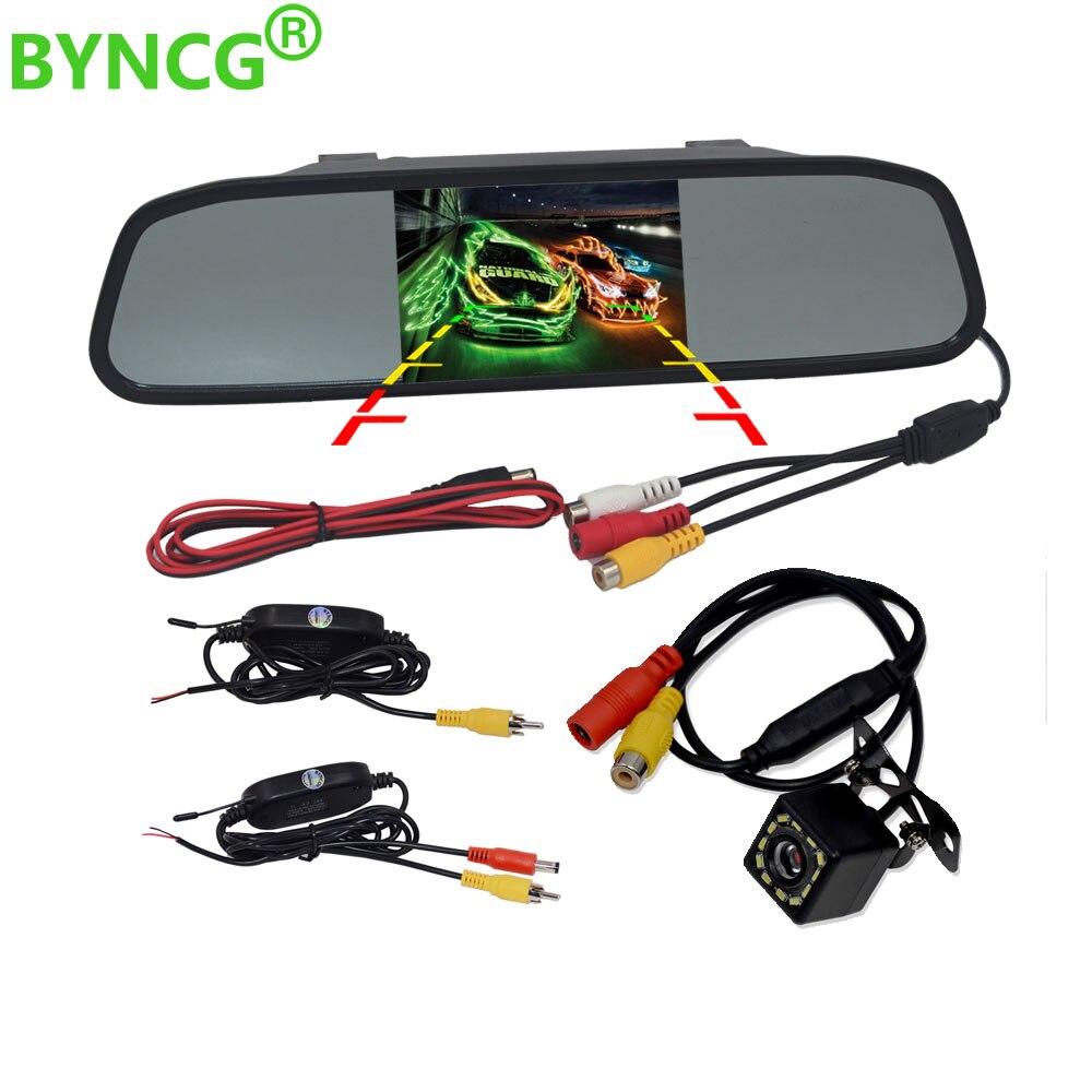 Беспроводная камера заднего вида, 1080 P, CCD видео, авто 4,3 дюйма, Автомобильное зеркало заднего вида, монитор, парковочная помощь, камера заднег...