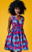 New African Women Dress Printing Sleeveless Bohemian style V neck Sexy Dashiki Dresses multifunctional Wearing Dress 18144