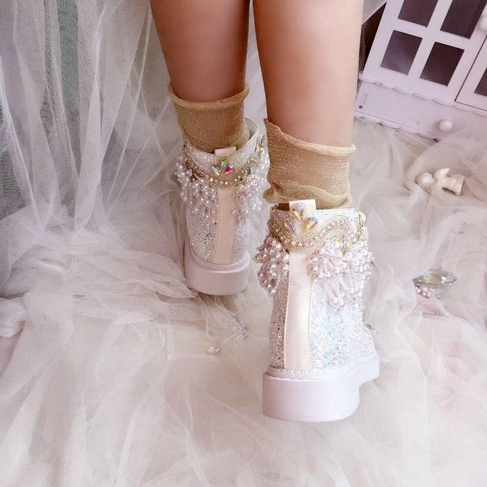 Ayakk.'ten Ayak Bileği Çizmeler'de Lüks Ayakkabı Düğün Botları Gelin Için Kişiselleştirilmiş Prenses Sequins Inciler Tatlı Lady Sonbahar Kış Kristal Renkli Bling Ayakkabı'da  Grup 3