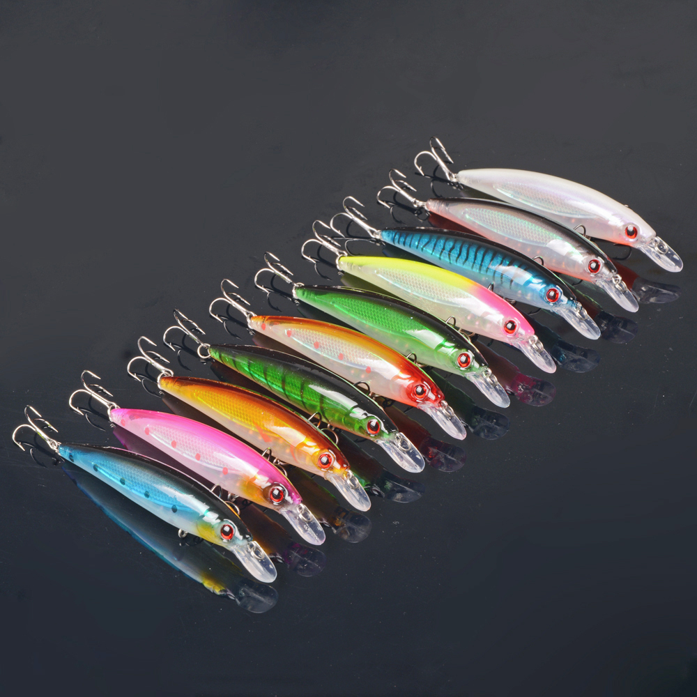 100pcs//Lot  Kinds of Fishing Lures Minnow Crankbaits Bass Baits Hooks Tackle+Box