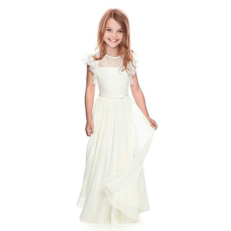 USA Kids Girls Diamond Chiffon Wedding Bridesmaid Pageant Party Formal Dress wea