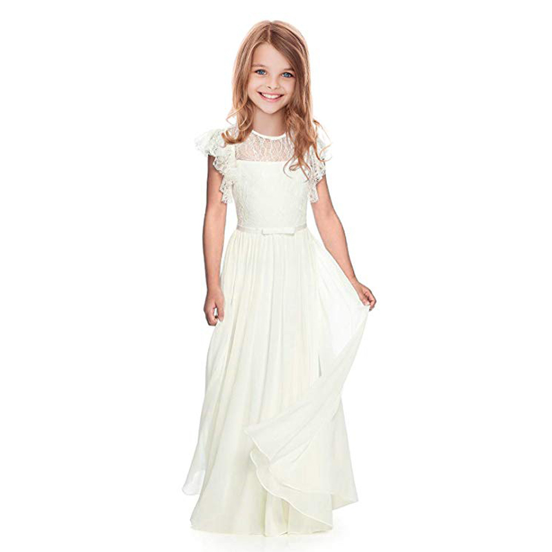 Flower Girl   Dresses   Lace White/Ivory Girls Bridesmaid Gowns Party Wedding   Prom   Pageant First Communion   Dresses   Children Clothing
