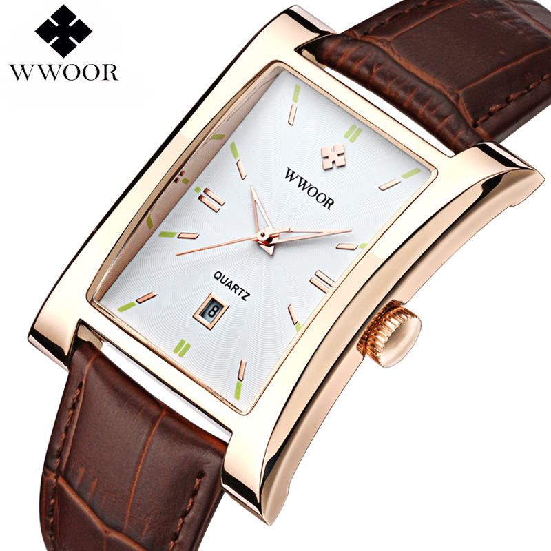 Men's Watches Luxury Brand WWOOR Date Rectangle Leather Strap Waterproof Casual Quartz Watch Men Sports Wrist Watch Male Clock цена