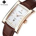 Relógios de Luxo Da Marca dos homens WWOOR Data Retângulo Pulseira de Couro Casual Relógio de Quartzo Homens Esportes Relógio de Pulso Masculino Relógio À Prova D' Água