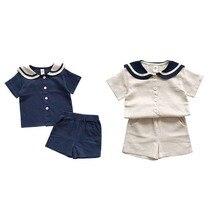цены на Baby Clothes Sets Summer Baby Boys Girls Clothes short Sleeve T-Shirt+Shorts 2Pcs Children Clothes Suits Naval Style 1-10t  в интернет-магазинах