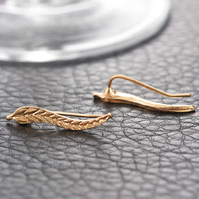 LASPERAL Vintage Jewelry Exquisite Gold Color Leaf Earrings Modern Beautiful Feather Stud Earrings For Women Party Jewelry