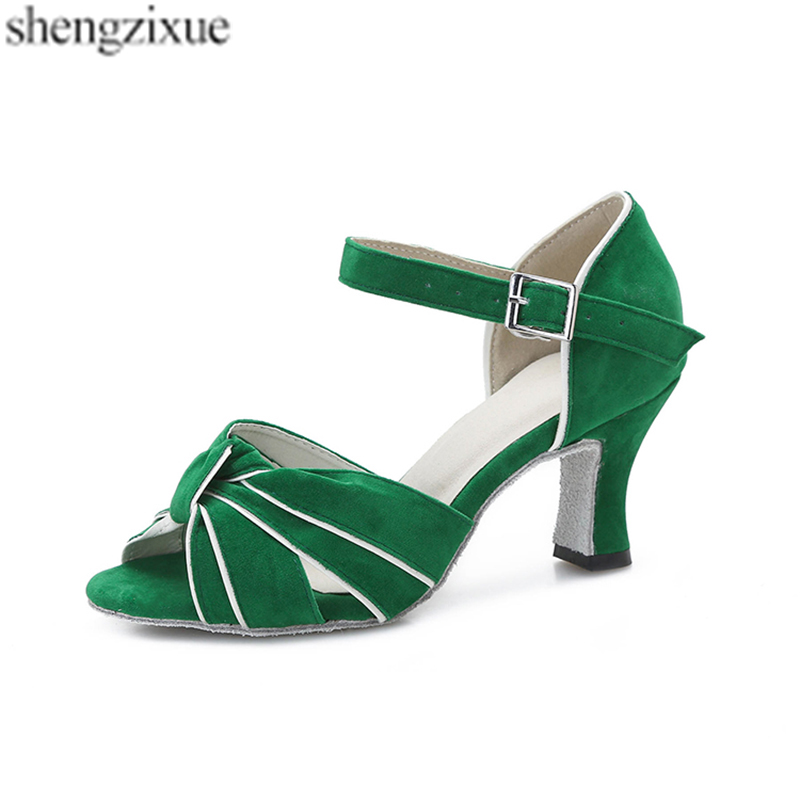 Capable Shengzixue Womens Green Flannel Sandals Ballroom Party Performance Salsa Latin Dance Shoes Heel 7cm Reliable Performance Office & School Supplies