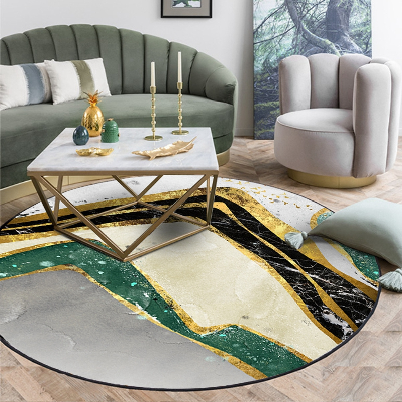 Nordic Marble Pattern Round Carpet Kids Play Tent Area Rugs Bedroom Living Room Coffee Table Floor Mats Crawling Non-Silp Tapete