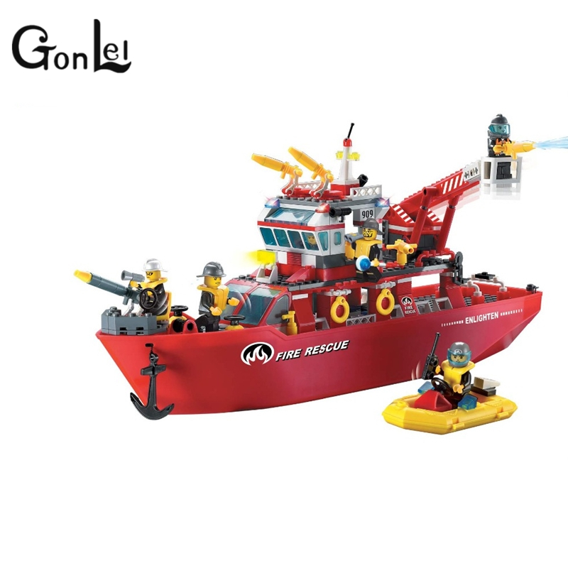 GonLeI Enlighten Building Block Fire Rescue Multi-Function Fire Ship 6 Firemen 359pcs-Without Original Box 607pcs enlighten building block fire rescue scaling ladder fire engines 5 firemen educational diy toy for children