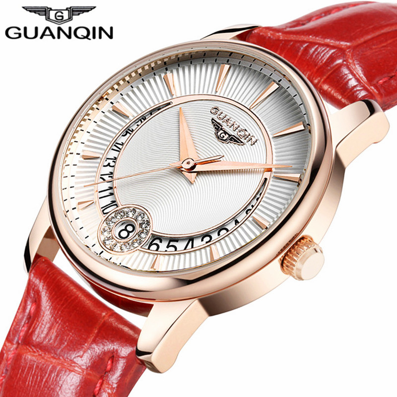 relogio feminino GUANQIN Women Watches Luxury Brand Fashion Casual Date Clock Ladies Dress Leather Strap Waterproof Quartz Watch swiss fashion brand agelocer dress gold quartz watch women clock female lady leather strap wristwatch relogio feminino luxury