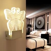 Akrylowe Lampy Kryształowe Ściany Motyl Modern Home Światło w Pomieszczeniach Stylowe Romantyczny Motyl Dekoracji Lampy Światła Korytarz IY121696