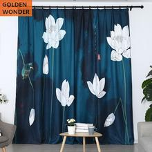 Customized Finished Curtains For Living Room Blackout Window Curtain Bed Dark Blue Flower Pattern