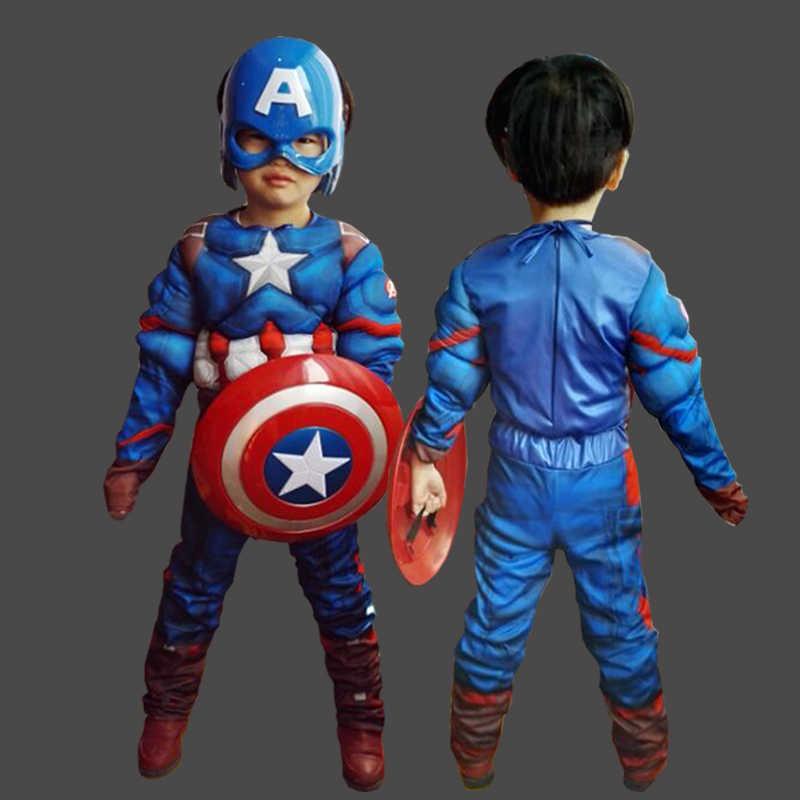 Çocuk noel erkek cadılar bayramı kostümleri kızlar cosplay karnaval kaptan amerika kostüm çocuklar için fantezi kalkanı kas yeni yıl
