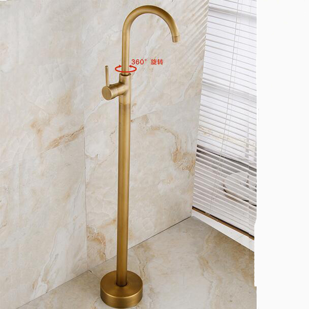 Single Handle Floor Mount Bathtub Faucet Antique Brass Free Standing ...