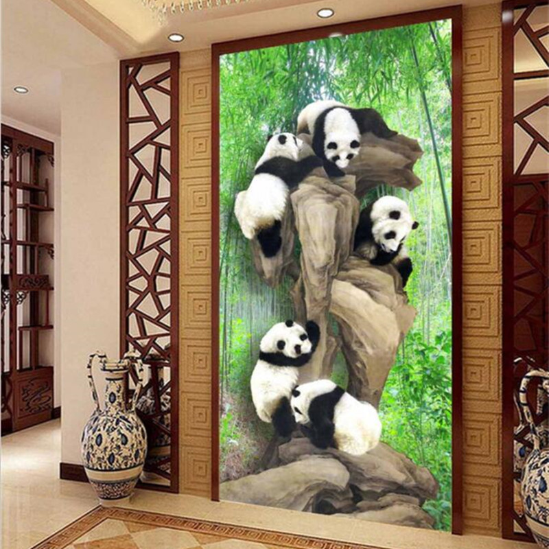 Custom 3D Large Photo Wallpaper Mural 3D Chinese Panda Bamboo Forest Living Room Child Bedroom TV Background Wall Decor Murals spring abundant flowers rich large mural wallpaper living room bedroom wallpaper painting tv background wall 3d wallpaper