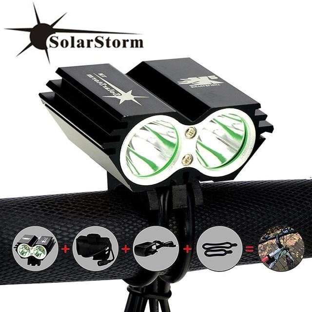 SolarStorm X2 אופני אור 5000Lm עמיד למים XM-L U2 LED אופניים פנס מנורת פלאש אור & נטענות סוללות + מטען