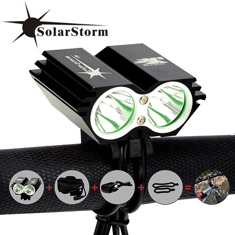 SolarStorm X2 5000lm Водонепроницаемый LED Велосипедные фары светодиодные лампы фар фонарик с аккумуляторной Батарея + Зарядное устройство
