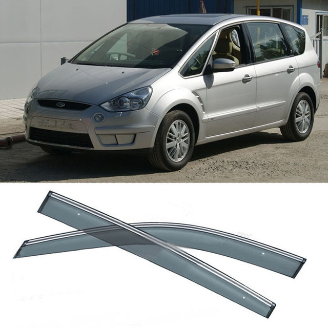 New 4pcs Blade Side Windows Deflectors Door Sun Visor Shield For Ford S-MAX