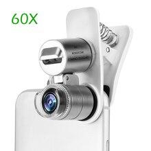 Powstro 60X оптический зум Телефон Микроскоп объектив Микро телефон объектив лупа с зажимом для чтения ювелирных изделий штамп монеты