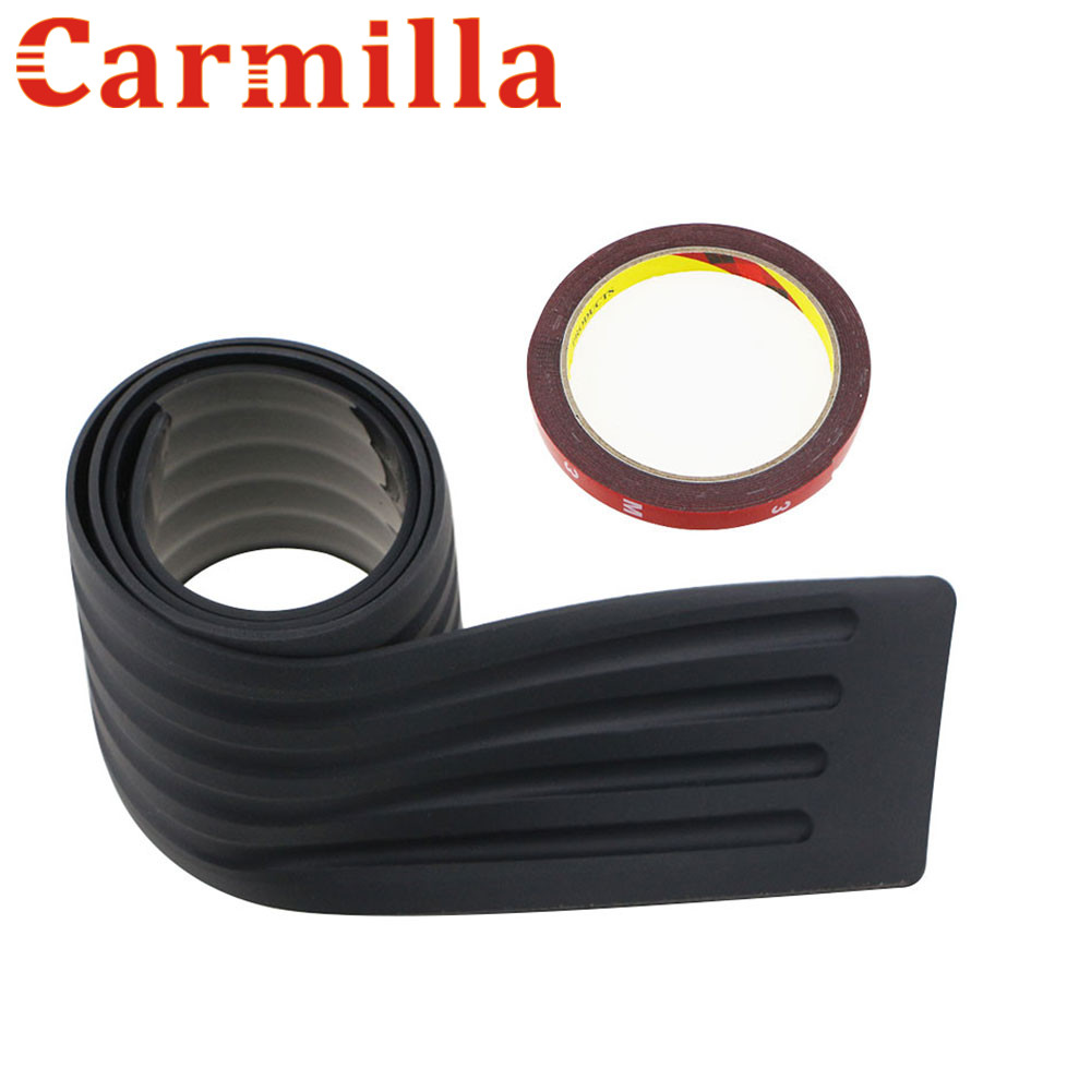 Carmilla Car Rubber Rear Guard Bumper Protector Trim Cover For Ford Focus Ecosport Explorer Fiesta Mondeo Edge Mustang fit for ford mondeo focus explorer edge taurus kuga escort ecosport boot liner rear trunk cargo mat floor tray carpet