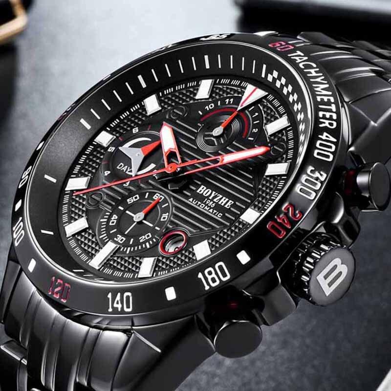 BOYZHE nouveaux hommes automatique mécanique haut tendance marque de luxe montre de Sport en acier inoxydable montre Relogio Masculino hommes \ x27s montre - 3