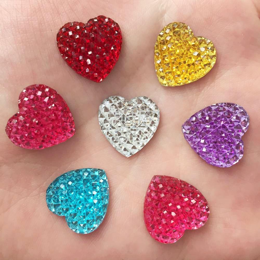 Heart Resin 20PCS 16mm AB FlatBack Rhinestone Wedding Decoration Buttons U  PICK K27 9acb6bb891d8