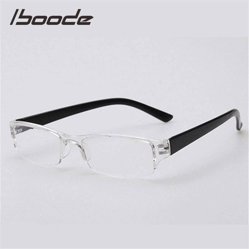 IBOODE Square Half Frame Reading Glasses Women Men Semi Rimless Presbyopic Eyeglasses Female Male Hyperopia Eyewear Spectacles