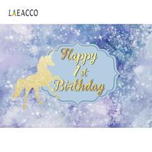 Laeacco Glitter Star Gold Unicorn Party Happy 1st Birthday Baby Photo Backgrounds Photographic Backdrops Photocall Studio