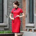 TIC-TEC chinese cheongsam qipao red lace slim vintage fashion women Chino tradicional party weeding oriental dresses cloth P2849