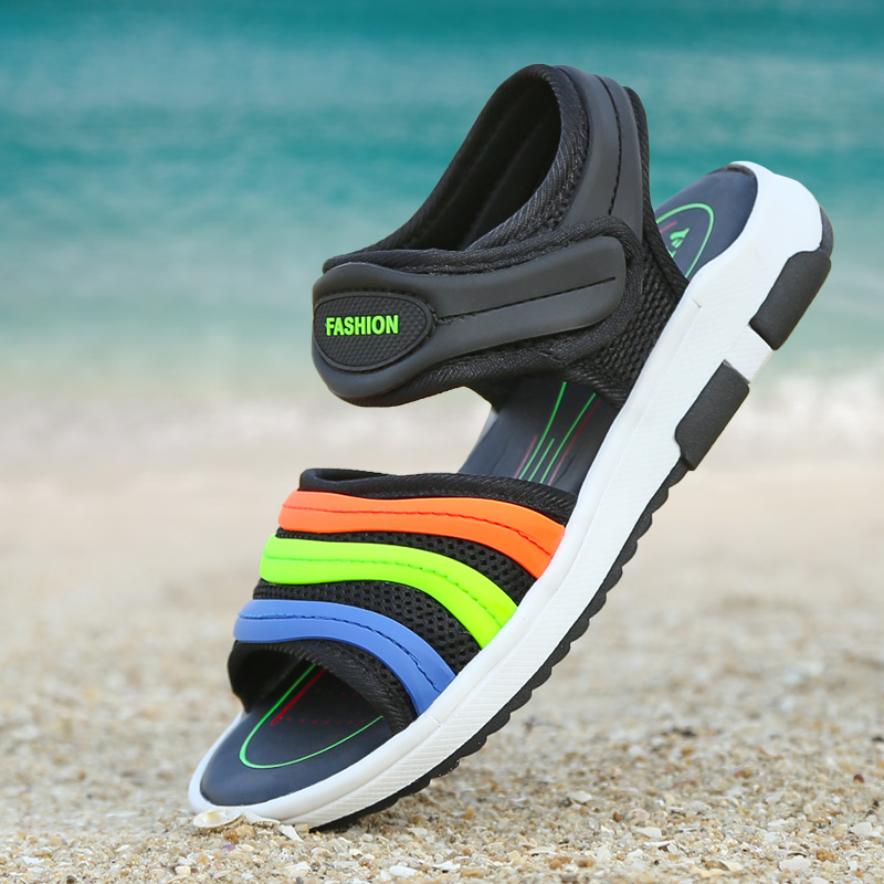 DJSUNNYMIX 2018 New Kids Sandals For Boys And Girls Summer Child Beach Shoes Fashion Hook-and-Loop Kids Shoes Size 28-37