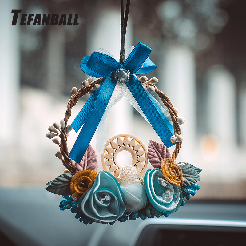 Fashion Car Dream Catcher Blue woven garland Hanging Pendant Home Hanging Decoration craft gift Dashboard Car Mirror Pendant-in Ornaments from Automobiles & Motorcycles