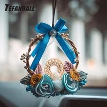 Moda carro sonho apanhador azul tecido guirlanda pendurado pingente casa pendurado decoração artesanato presente dashboard espelho do carro pingente