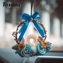 Modny samochód łapacz snów niebieski tkany wianek do zawieszenia w domu wisząca dekoracja rzemiosło prezent deska rozdzielcza lusterko samochodowe wisiorek