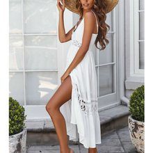 2019 Cotton Women Lace Stitching Dresses Summer New Ladies Sexy Hollow Out Dress Beach Style White V Neck Sling Sundress