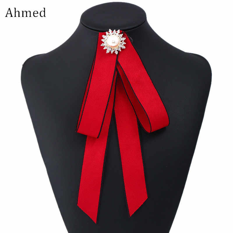 Ahmed New Rhinestone Pearl Flower Long Ribbon Bow tie Brooches for Women Fashion 3colors Collar Corsage Brooch Jewelry