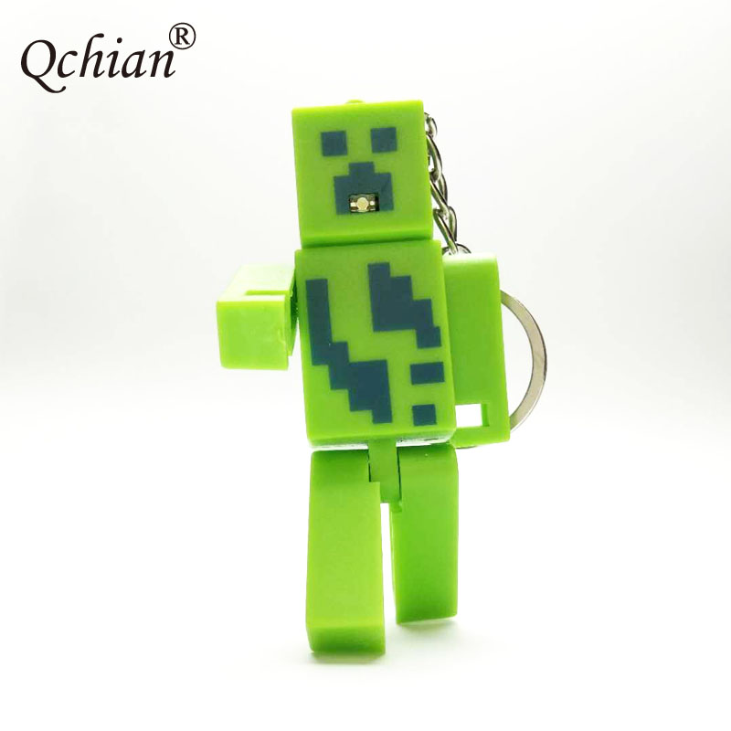 Top Games Minecraft 3D Personas Can sound LED glowing Car Backpack Keychain Good Game Fans Key Ring Ccommemorative Gift