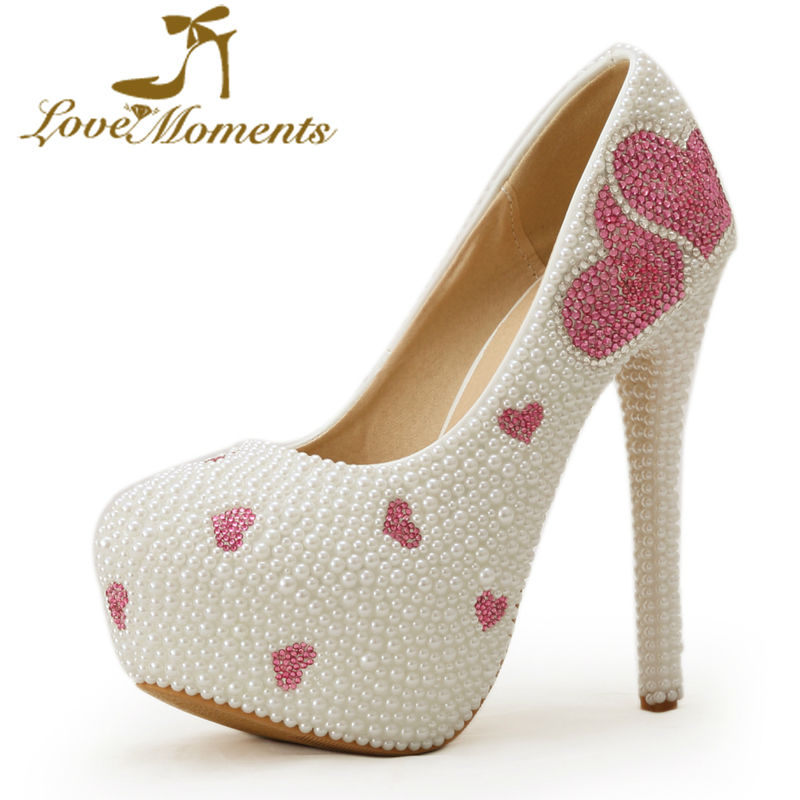 97c027810d9 US $68.79 14% OFF|2018 White Pearl Wedding shoes Crystal Pink Rhinestone  Bridal shoes valentine high Heels Heart Shape Design Cocktail Dress  Pumps-in ...
