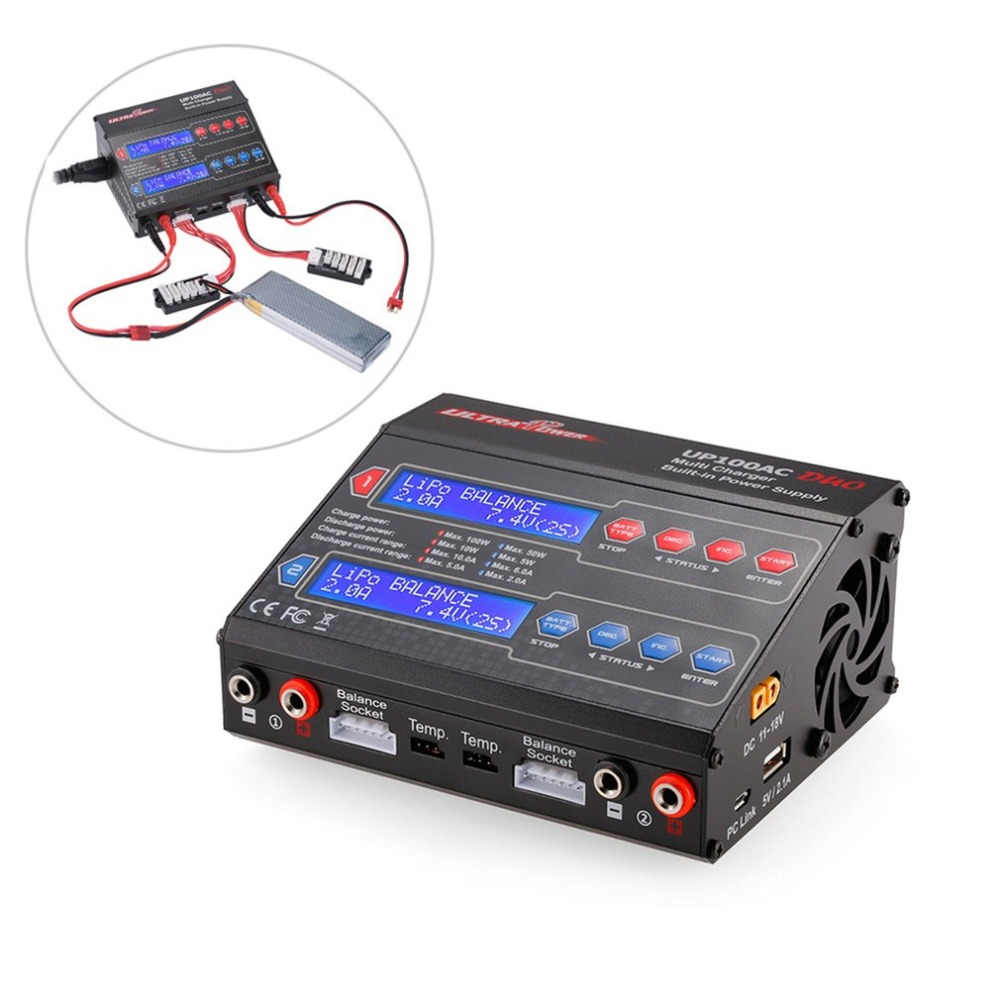 Ultra Power UP100AC DUO 100W Cyclic Charge / discharge LiIo / LiPo / LiFe / NiMH / Nicd Balance Charger Arrester for RC Drone ht ultra power up100ac ac dc plus 100w balance charger