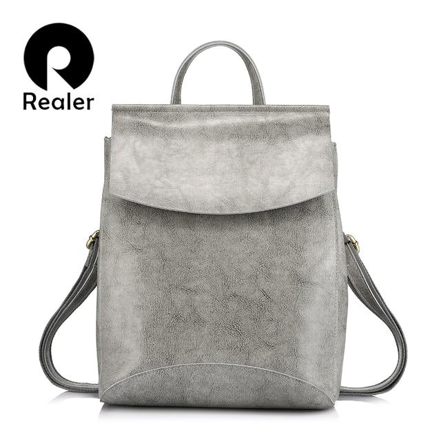 REALER brand fashion backpack women leather genuine backpacks for teenage girls female backpacks multifunctional shoulder bags