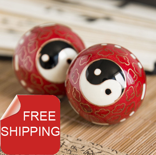 50mm40mm chinese baoding balls,cloisonne Taichi design in multi colors.Chiming fitness ball.Home gift.Paper box.Free shipping.