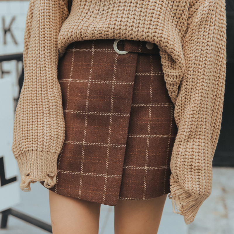 2019 Kawaii Women Skirts Autumn And Winter Thickening Slim Hip Woolen Plaid Skirt Vintage Japanese Harajuku High Waist Skirt