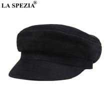 LA SPEZIA de cuero genuino de los hombres mono sombreros militares Vintage  Gatsby tapas negro clásico plano sombreros italiano d. 8e18b89ca21